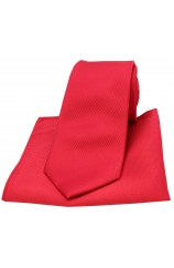 Soprano Red Diagonal Ribbed Plain Silk Tie and Pocket Square