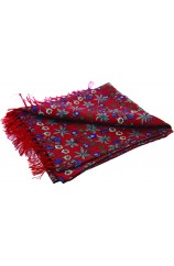 Soprano Red Edwardian Inspired Flower Theme Silk Aviator Scarf