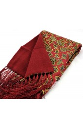 Soprano Red Edwardian Paisley Silk with Wool backing Scarf