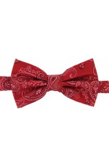 Soprano Red Edwardian Paisley Woven Silk Bow Tie