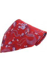 Soprano Red Floral Patterned Silk Patterned Pocket Square