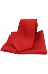 Soprano Red Matching Satin Silk Tie and Pocket Square