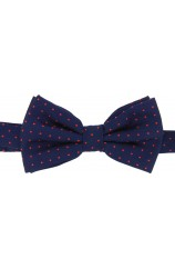 Soprano Red Pin Dot Fashionable Woven Silk Bow Tie On Navy Ground