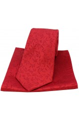 Soprano Red Silk Jacquard Leaf Design Tie and Pocket Square