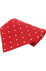 Soprano Red White Polka Dots Mens Silk Pocket Square