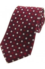 Soprano Red Wine and White Spotted Silk Tie