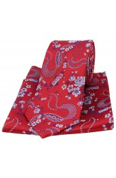 Soprano Red With Floral Pattern Mens Silk Tie and Pocket Square
