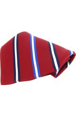 Soprano Red With Navy White and Blue Striped Pocket Square