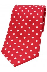 Soprano Red with White Polka Dots Mens Printed Silk Tie