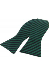 Soprano Regimental Green and Navy Striped Silk Self Tied Bow
