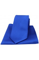 Soprano Royal Blue Diagonal Ribbed Plain Silk Tie and Pocket Square
