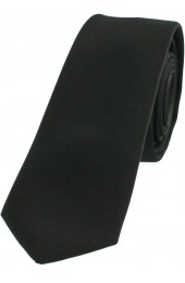 Soprano Satin Black Polyester Thin Tie