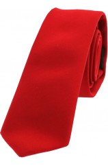 Soprano Satin Red Polyester Thin Tie