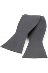 Soprano Satin Silk Slate Grey Self Tied Luxury Bow Tie