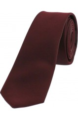 Soprano Satin Wine Polyester Thin Tie