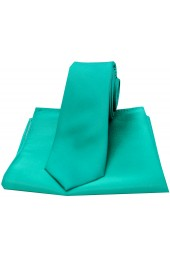 Soprano Sea Green Satin Silk Thin Tie and Pocket Square