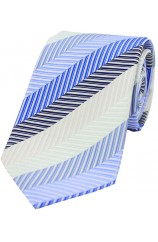 Soprano Shades of Blue  and Beige Striped Woven Silk Tie