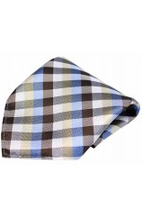 Soprano Shades of Brown and Blue Checked Pattern Silk Pocket Square