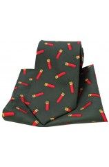 Soprano Shotgun Cartridges On Dark Green Ground Country Silk Tie and Pocket Square