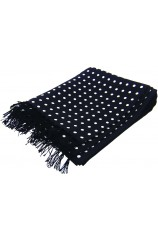 Soprano Silk Aviator Scarf With White Polka Dots On Black Ground