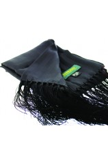Soprano Silk Black Evening Scarf With Tassel Trim