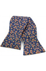 Soprano Silk Edwardian Small Paisley Self Tie Bow On Navy Ground