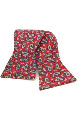 Soprano Silk Edwardian Small Paisley Self Tie Bow On Red Ground