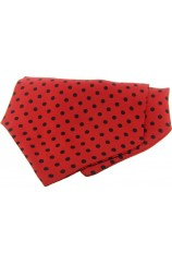Soprano Silk Twill Black Polka Dots On Red Ground Cravat