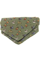 Soprano Silk Twill Country Birds Cravat On Green Ground