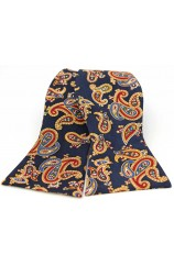 Soprano Silk Twill Edwardian Paisley Self Tie Bow On Navy Ground