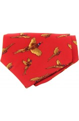 Soprano Silk Twill Flying Pheasant Cravat On Red Ground