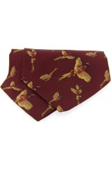 Soprano Silk Twill Flying Pheasant Cravat On Wine Ground