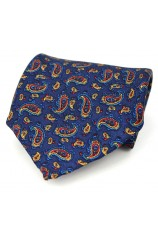 Soprano Silk Twill Navy Paisley Pocket Square