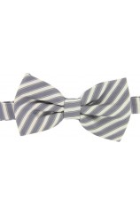 Soprano Silver and Ivory Striped Fashionable Woven Silk Bow Tie