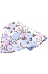 Soprano Silver With Pink and Blue Flowers Silk Pocket Square