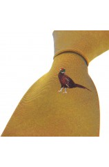 Soprano Single Motif Standing Pheasant On Mustard Ground Country Silk Tie