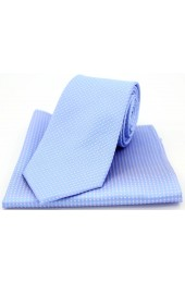 Soprano Sky Blue and  Pink Pin Dot Silk Tie and Pocket Square