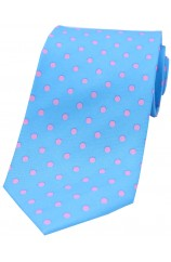 Soprano Sky Blue with Pink Polka Dots Mens Printed Silk Tie
