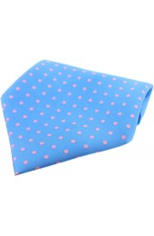 Soprano Sky Blue With Pink Polka Dots Mens Silk Pocket Square