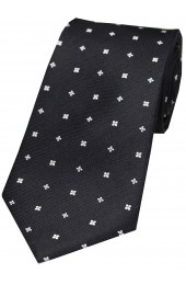 Soprano Small Flowers Black Silk Tie