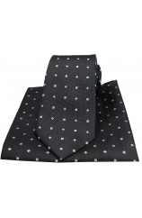 Soprano Small Flowers Black Silk Tie and Pocket Square