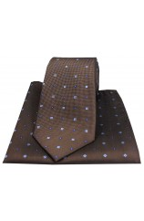 Soprano Small Flowers Brown Silk Tie and Pocket Square