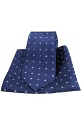 Soprano Small Flowers Navy Silk Tie and Pocket Square