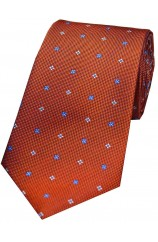 Soprano Small Flowers Orange Silk Tie