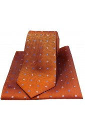 Soprano Small Flowers Orange Silk Tie and Pocket Square