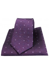 Soprano Small Flowers Purple Silk Tie and Pocket Square