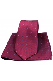 Soprano Small Flowers Wine Silk Tie and Pocket Square