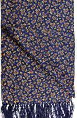 Soprano Small Paisley On A Deep Blue Ground Silk Aviator Scarf
