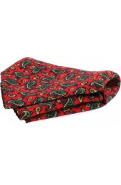 Soprano Small Red Paisley Mens Silk Pocket Square