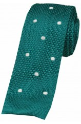 Soprano Teal and White Polka Dot Thin Knitted Polyester Tie